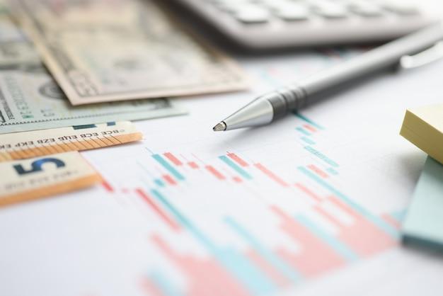 Dinero y bolígrafo en documentos con gráficos closeup