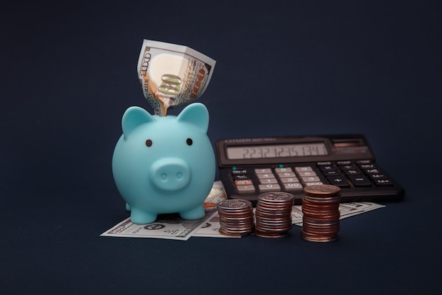 Dinero en efectivo en dólares, calculadora y hucha azul en la mesa.