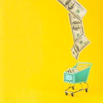 Dinero volando desde el carrito de supermercado