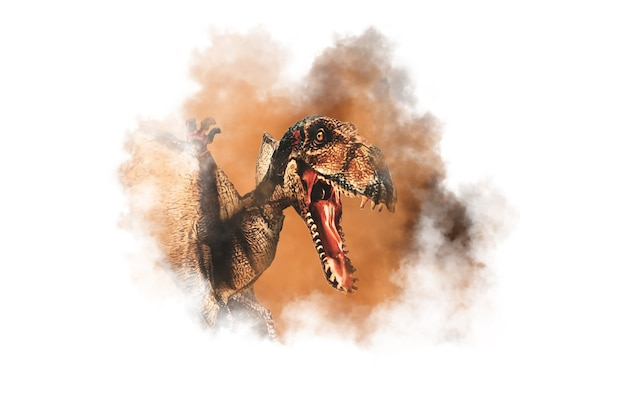 Dinosaurio dimorphodon sobre fondo de humo