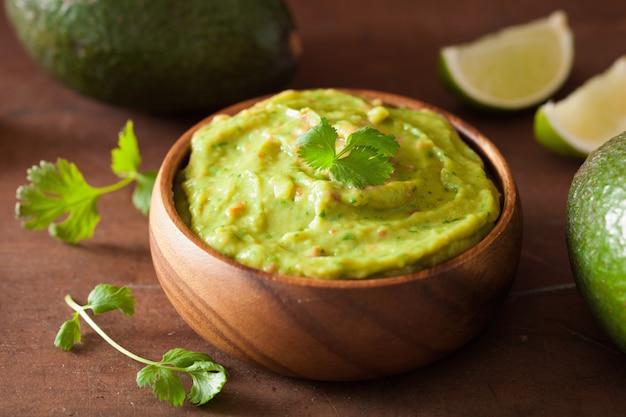 Dip de guacamole mexicano comida saludable