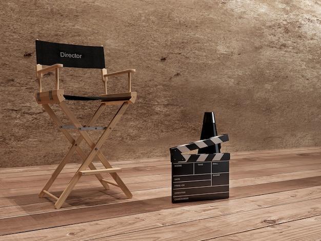 Director chair, movie clapper y megáfono ..