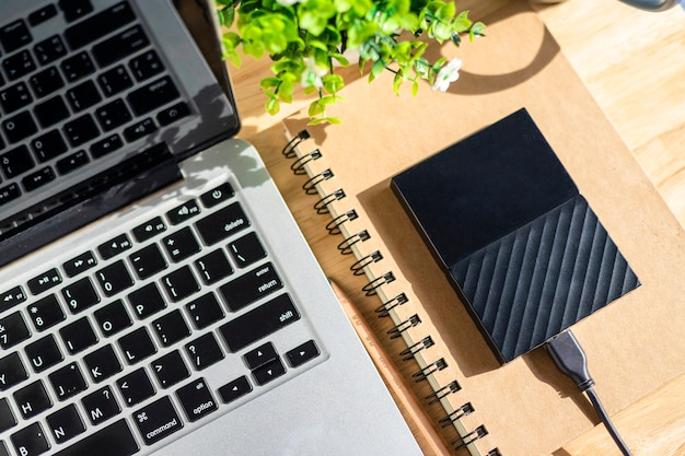 Disco duro externo en el portátil con teclado del ordenador portátil con un árbol de lápiz y maceta sobre fondo de madera, mesa de oficina de vista superior.