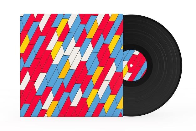Disco de vinilo antiguo en caja de papel multicolor abstracto sobre un fondo blanco. representación 3d