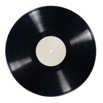 Disco de vinilo lp de 12 pulgadas con etiqueta en blanco aislada sobre superficie blanca