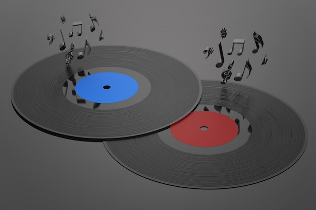 Disco de vinilo de renderizado 3d con notas musicales