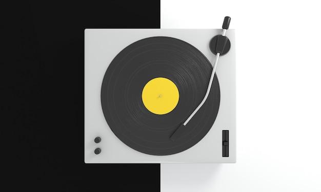 Disco de vinilo vintage con etiqueta amarilla en el tocadiscos de dj sobre fondo blanco y negro música retro