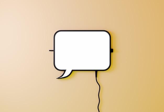 Discurso globo burbuja signo sobre fondo amarillo claro. concepto de comunicación representación 3d del icono de chats