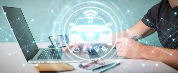 Diseñador gráfico que utiliza una moderna interfaz de coche inteligente