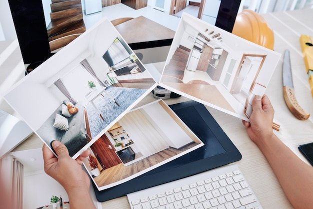 Diseñador de interiores mirando fotos