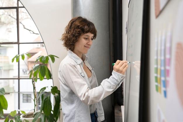 Diseñador de logotipos trabajando en pizarra