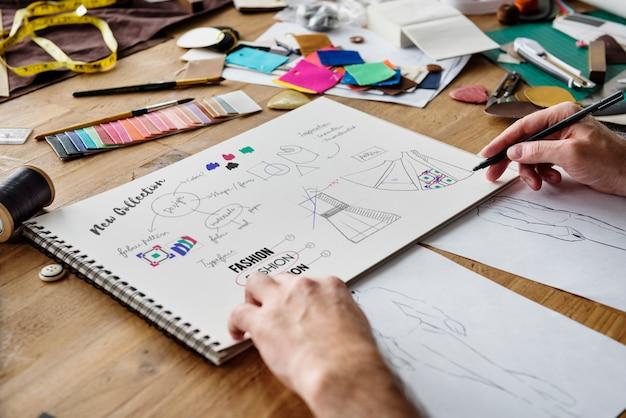 Diseñador de moda con estilo showroom concept