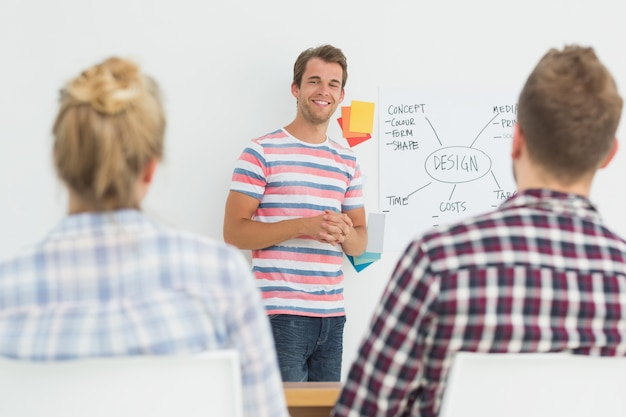 Diseñador sonriente que presenta ideas a sus colegas
