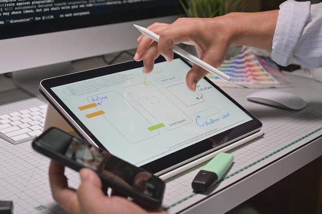 Los diseñadores de ux crearon un prototipo de desarrollo de aplicaciones de planificación de bocetos para aplicaciones móviles