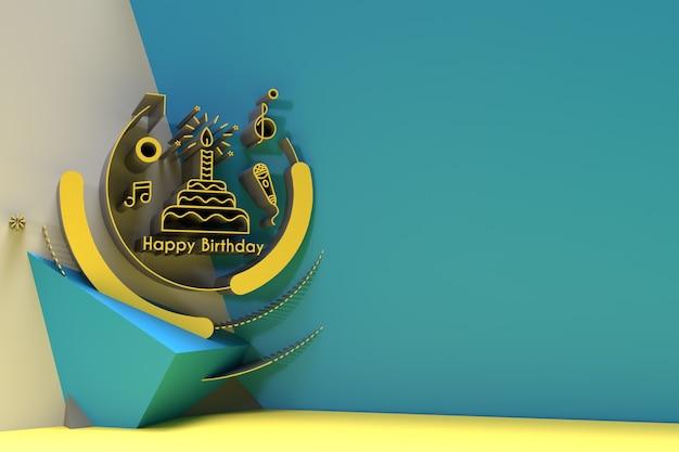 Diseño 3d del cartel del aviador del fondo de los elementos del partido del texto del feliz cumpleaños 3d.