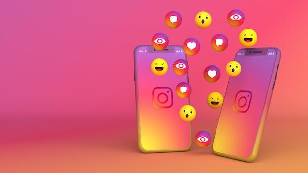 Diseño 3d de dos teléfonos con iconos emergentes de instagram