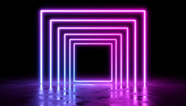 Diseño abstracto con brillo láser de neón sobre un fondo oscuro, ilustración 3d