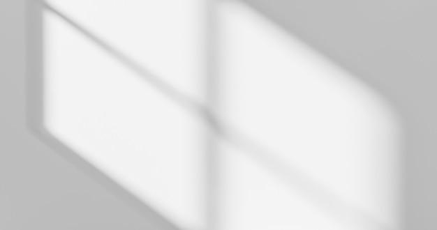 Diseño abstracto de la luz del sol de la sombra de la superposición de la ventana y la pared blanca en la superficie borrosa del fondo gris vacío con el efecto luminoso o el telón de fondo del verano de la naturaleza del papel pintado de la presentación. representación 3d.