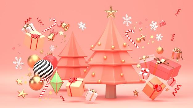 Diseño del árbol de navidad para vacaciones de navidad decorar con forma geométrica de ornamento y caja de regalo.