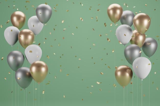 Diseño de banner y globo de año nuevo. ilustración 3d