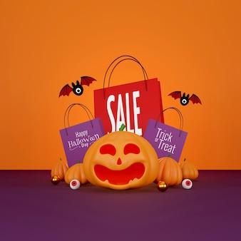 Diseño de banner de venta de halloween Foto Premium