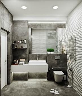 Diseño de baño moderno con azulejos debajo de hormigón y azulejos ondulados.