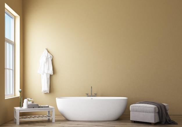 Diseño de baño moderno y loft con representación 3d de pared amarilla