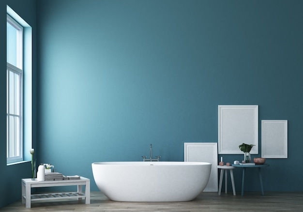 Diseño de baño moderno y loft con representación 3d de pared azul