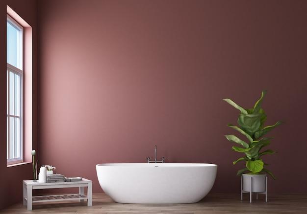 Diseño de baño moderno y loft con representación 3d de pared rosa