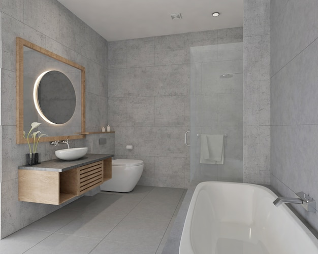 Diseño de baño pequeño y moderno con azulejos y bañera.