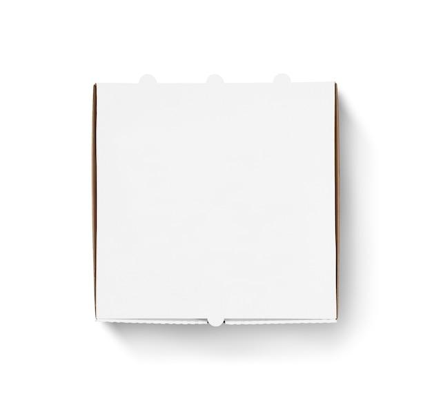 Diseño de caja de pizza en blanco simulacro de vista superior aislada