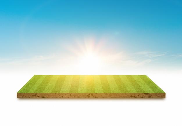 Diseño de la cancha de fútbol de césped verde de representación 3d sobre fondo de cielo azul brillante