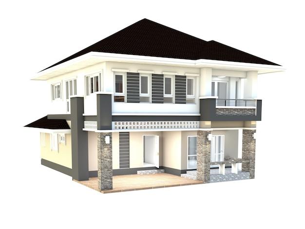 Diseño de la casa aislada fondo blanco