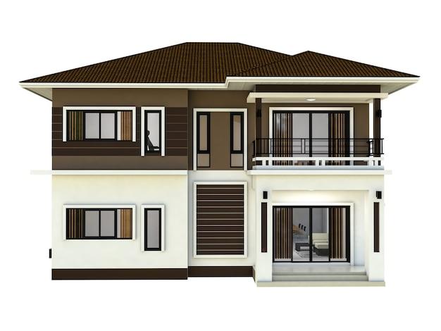 Diseño en casa aislado fondo blanco