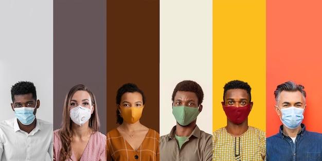 Diseño de collage de personas con máscara.