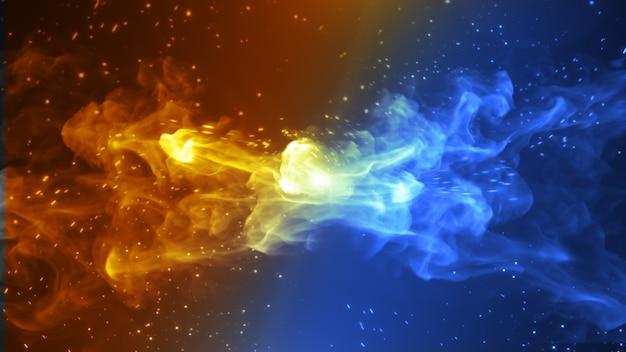 Diseño de concepto de fuego y hielo. ilustración 3d.