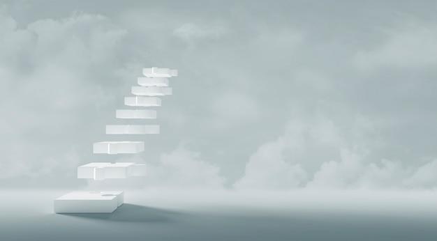Diseño de concepto de negocio de rompecabezas de escaleras blancas con espacio de copia estilo minimalista 3d render