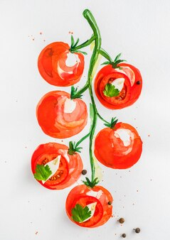 Diseño conceptual, tomates con queso mozzarella
