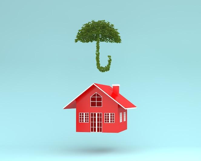 Diseño creativo de la casa roja con paraguas de planta flotando sobre fondo azul
