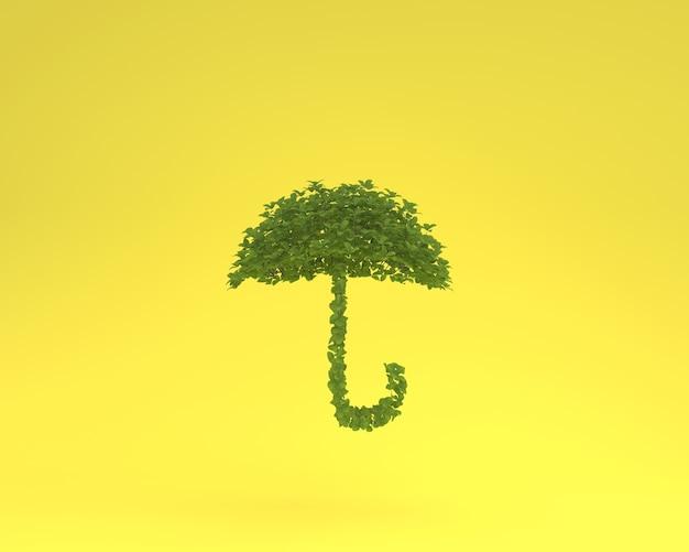 Diseño creativo hecho de paraguas de planta flotando sobre fondo amarillo