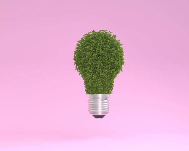 Diseño creativo hecho de planta bombilla de luz flotando en el fondo de color rosa pastel. idea minimal