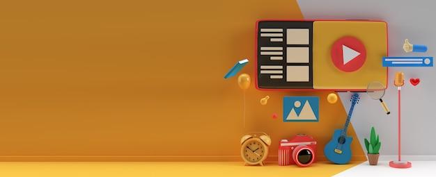 Diseño creativo de renderizado 3d para banner web, material de marketing, presentación comercial, publicidad en línea.