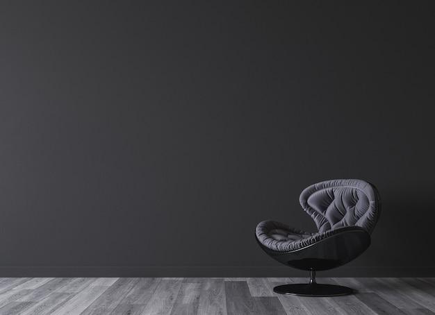 Diseño de cuarto oscuro con sillón