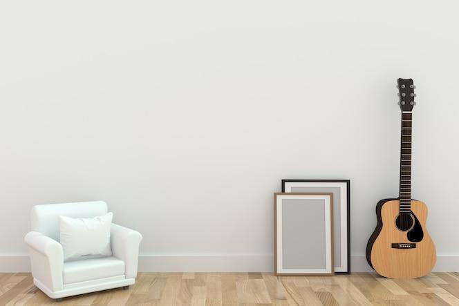 Diseño de sofá individual minimalista con guitarra en la habitación en representación 3d