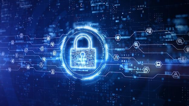 Diseño digital de candado de seguridad cibernética con fondo azul.