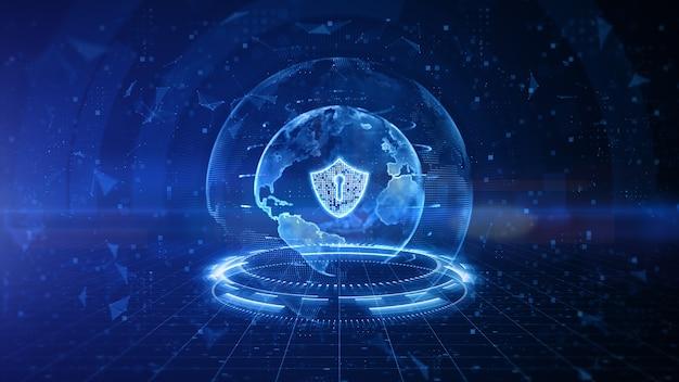 Diseño digital de escudo de seguridad cibernética con fondo azul.