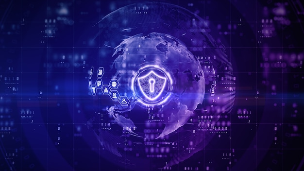 Diseño digital de escudo de seguridad cibernética con fondo morado
