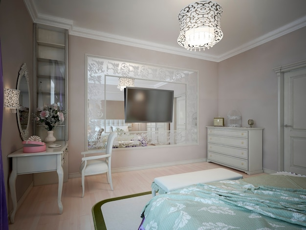 Diseño de dormitorio clásico con paredes beige.