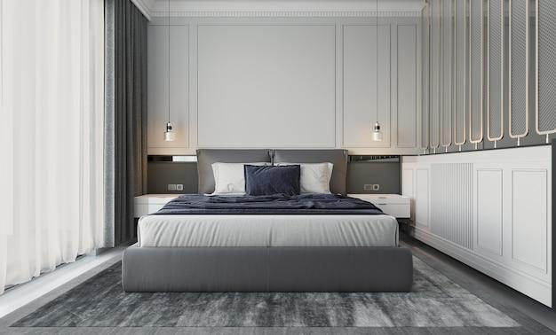 Diseño de dormitorio interior de apartamento contemporáneo con luz natural
