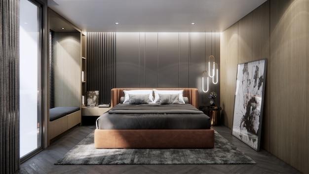 Diseño de dormitorio interior de representación 3d.